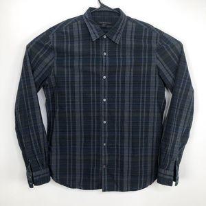 John Varvatos Check Button Front Shirt Blue Size L